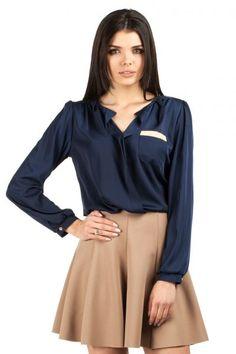 Dark blue blouse with neckline V-shaped