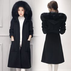 2016 Women Manteaux Hiver Wool Coat Winter  Parka Ladies Slim Demes Bodycon Cardigan Fur Hooded Femme Elegant Long Robe Black-in Wool & Blends from Women's Clothing & Accessories on Aliexpress.com | Alibaba Group