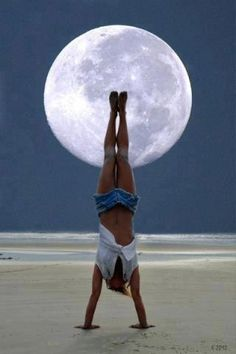 Full moon handstand. Enjoyed and repinned by yogapad.com.au