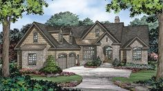 Home Plan HOMEPW77455 - 1964 Square Foot, 3 Bedroom 2 Bathroom European Home with 2 Garage Bays | Homeplans.com