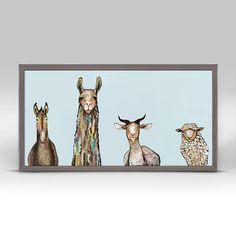 GreenBox Art 'Donkey, Llama, Goat, Sheep' by Eli Halpin Framed Print of Painting in Teal Canvas Frame, Canvas Art, Canvas Prints, Canvas Size, Alphabet Wall Decals, Art Sur Toile, Photo D Art, Contemporary Wall Art, Painting Prints
