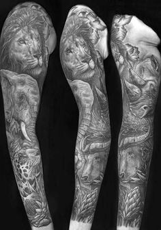 Shaded Mens Animal Themed Sleeve Tattoo With Lion Design