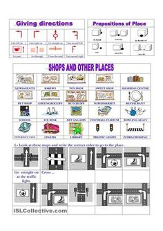 Vocabulary : Places: giving directions worksheet - Free ESL printable worksheets made by teachers English Class, English Lessons, Teaching English, Learn English, Esl Lessons, Grammar Lessons, Give Directions, English Activities, Map Activities