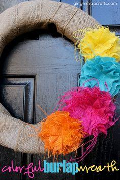 Create a colorful DIY burlap wreath at GingerSnapCrafts.com