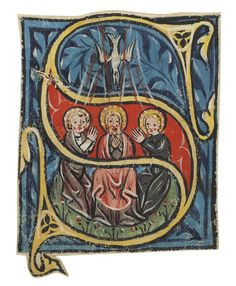RESURRECTION and TRINITY, two initials cut from a gradual [diocese of Konstanz, 1st half 14th C] - Album on Imgur
