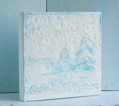Winter FOREST Snow Original Encaustic Painting by susannajarian