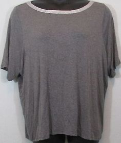 Gray Casual Plus Size Blouse With Metallic Trim, Size 26/28 by Lane Bryant
