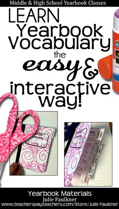 Yearbook Vocabulary Lesson and Interactive Notebook   Middle and High School