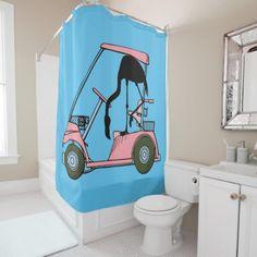 Flamingo Golf Cart Golf Humor Shower Curtain Flamingo Shower