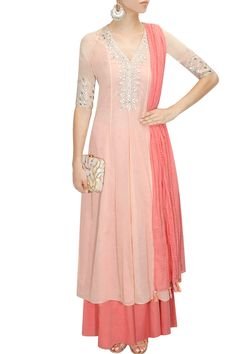 Peach embroidered kurta with sharara pants available only at Pernia's Pop-Up Shop.