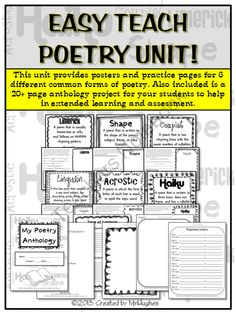 Easy Teach Poetry Unit product from MrHughes on TeachersNotebook.com