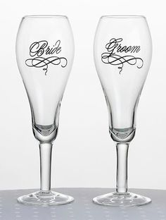 Bride & Groom Wedding Toasting Flutes Wine Champagne Glasses - Pair ebay 27.90