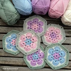 Crochet African Flowers in spring colors Made by BautaWitch