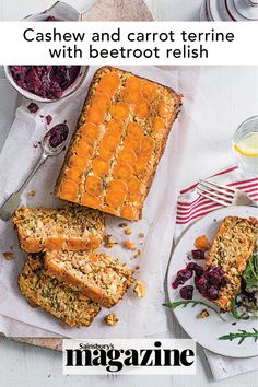 Here's an idea for your loaf tin: terrine! This vegan cashew and carrot terrine recipe is delicious; serve with our beetroot relish and salad for a light, healthy lunch. Get the Sainsbury's magazine recipe Relish Recipes, Vegan Recipes, Beetroot Relish, Vegan Mac N Cheese, Magazine Recipe, Tomato Curry, Paleo, Keto, Cooked Carrots