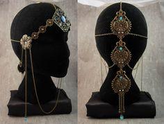 """Bijoux de tête / Coiffe / Headband / Headdress / Diadème / Crown / """"Belle Hélène"""" Style Victorien Romantique Antique Godess / Bronze"""