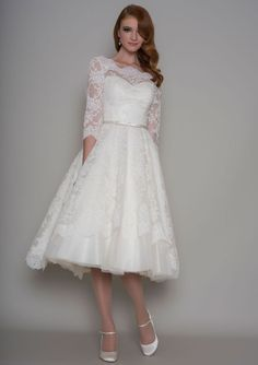 Short and Tea Length Wedding Dresses : 86-Delilah  Vntage inspired tea length dress