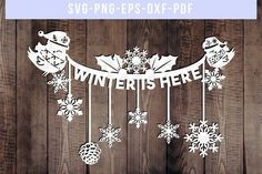 Winter Is Here Papercut Template #winter #papercut #papercutart #templates #wintercrafts #svg #wintersign #bunting #papercrafts #papercrafts #paperart #cardmaking #cards #etsyfinds