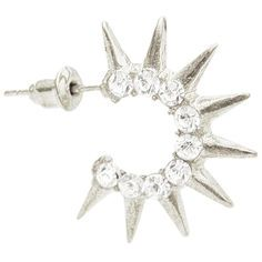 """1"""" Rhinestone C Hoops Hoop Earrings with Spikes in Crystal with Silver Tone finish"""