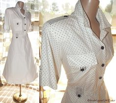 $49.99- Vintage 80s 50s White Polka-Dot Full Sweep Lucy Day Dress Epaulets Nautical XL