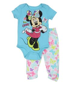 Loving this Blue Minnie Mouse 'Too Cute' Bodysuit & Leggings - Infant on #zulily! #zulilyfinds