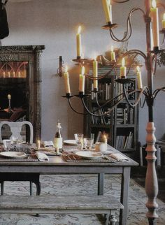 Maison Madame Figaro October eclectic dining room, edited by lb for l Chandeliers, Interior And Exterior, Interior Design, Gothic Interior, Gray Interior, French Decor, Dining Area, Dining Rooms, Candle Sconces