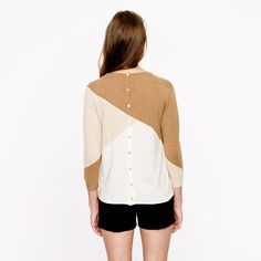 ++ Collection cashmere button-back sweater in colorblock