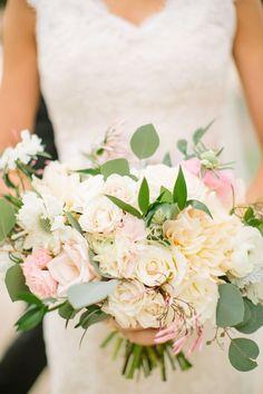Blush, Ivory & Green Bouquet http://significanteventsoftexas.com/: