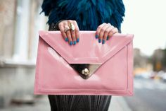 Pink Clutch & Blue Nails