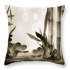 Throw Pillows - Bamboo 4 BW Throw Pillow by Todd and candice Dailey