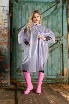 Pink Raincoat, Plastic Raincoat, Pink Hunter Boots, Imper Pvc, Rain Fashion, Wellies Rain Boots, Capes & Ponchos, Sexy Latex, Raincoats For Women