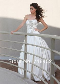 >> Click to Buy << 2014 In A Line Wedding Dresses Beaded Satin Vestidos De Novia Sweetheart Bridal Gowns Appliques Free Shipping NW1301 #Affiliate