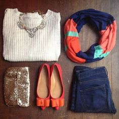 Cute casual look ... Take the bows off the shoes, switch out the purse for one with less sparkle and a different necklace :)