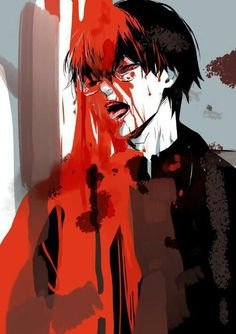 Kaneki Ken, dark hair, ghoul, blood; Tokyo Ghoul