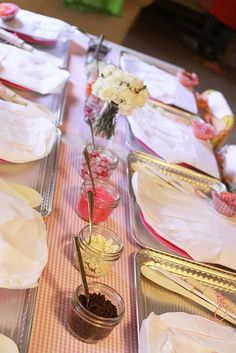 the baking table- fun girly party idea.