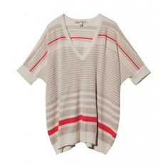 Short+sleeve+V-Neck+striped+sweater+with+ribbed+edges    27''+shoulder+to+hem    100%+Cashmere;+Dry+Clean    Imported,+China    Sizes+XS-S;+Model+wears+size+Small    Color:+Milk/Beachwood