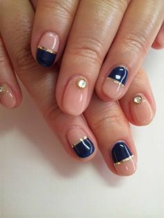 salon ua. oh navy with nude and gold! But need to loose those rhinestones and it would be the perfect mani!!!