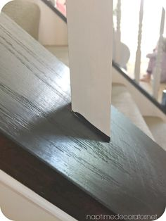 Bye bye Cherry Helloooo Java: The (EASY! Diy Stair Railing, Staircase Design, Stairwell Wall, Basement Stairs, Banister Remodel, Bannister, Oak Banister, Banister Ideas, Staircase Makeover