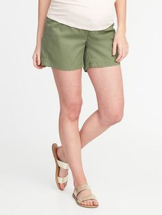 Maternity Side-Panel Twill Shorts