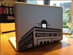 "Doctor Who police box tardis macbook decal, laptop sticker for notebook, Apple MacBook pro, air 13"" and 15"". also walls and glass on Etsy, $9.00"