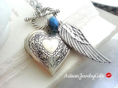 Silver Heart Locket Angel Wing Necklace Birthstone Necklace