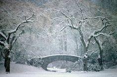 Snowy stone bridge in Vancouver