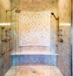Mediterranean Bathroom Shower Bench Design, Pictures, Remodel, Decor and Ideas