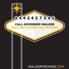 Facebook post encouraging fans to call Governor Walker and tell him to keep his promise to the people of Wisconsin.  Visit our website for more examples of our work in web and graphic design for political campaigns: www.harrismediallc.com