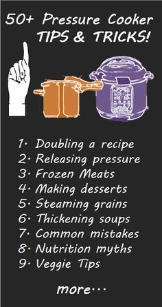 50+ Pressure Cooker tips and tricks from the expert. We're always adding new tips, so come visit us often to get the most use from your pressure cooker!