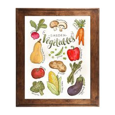 Watercolor Vegetable Art Print by Alexis Mattox Design. American Made. See the designer's work at the 2016 American Made Show, Washington DC. January 15-17, 2016. americanmadeshow.com #americanmadeshow, #americanmade, #print, #watercolor, #vegetables, #veggies