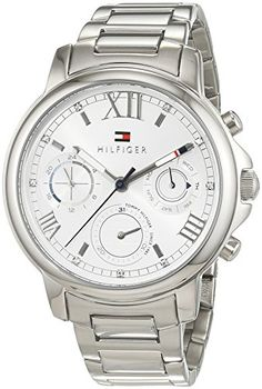 This attractive gents Tommy Hilfiger Claudia watch is made from stainless steel and is fitted with an analogue quartz movement. It is fitted with a silver metal bracelet and has a silver dial. The watch has a date function. A Women's Analogue watch from the brand Tommy Hilfiger with a case of Steel. Case shape: Round, Case diameter (mm): 41, Case height (mm): 9, Dial colour: Silver Band material: Steel, Band colour: Silver , Chronograph: No, Water resistance (m): 30 (splash proof), Calend...