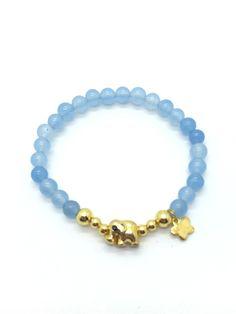 Blue Bead - Gold Elephant Bracelet