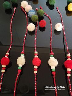 """Оригинални мартеници за ръка с топчета от плъстена вълна. Мартениците са в традиционните червено-бели цветове, допълнени с дървени топчета и с допълнително мънисто за регулиране на дължината. ---------------------------------- #martenica #spring #Bulgariantraditions #handmade #БабаМарта #традиции """"#мартеници #мартеница Baba Marta, Diy And Crafts, Paper Crafts, Wire Crochet, Minnie Birthday, Folk Embroidery, Yarn Projects, Wool, Christmas Ornaments"""