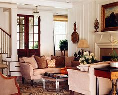 Love the vertical wall paneling and white contrasted with dark wood doors. Spitzmiller & Norris :: Gallery Maple Cottage