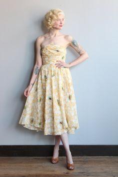 1950s Dress // Maris Silk Strapless Dress // by dethrosevintage
